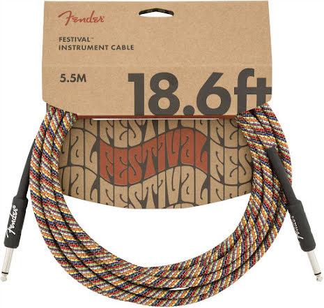 Fender 18.6ft Festival Instrument Cable, Pure Hemp, Rainbow