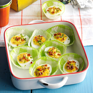 Bourbon Candied Bacon Deviled Eggs.
