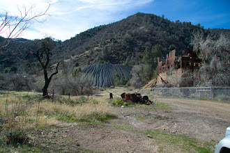 Photo: The abandoned mine and some ore.