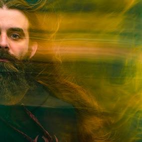 Slider by Duane Vosika - Digital Art People ( long hair, beard, blur, nebraska, long exposure, portrait, nikon, self shot, omaha, light, me, self, self portrait, light trails, man, male )