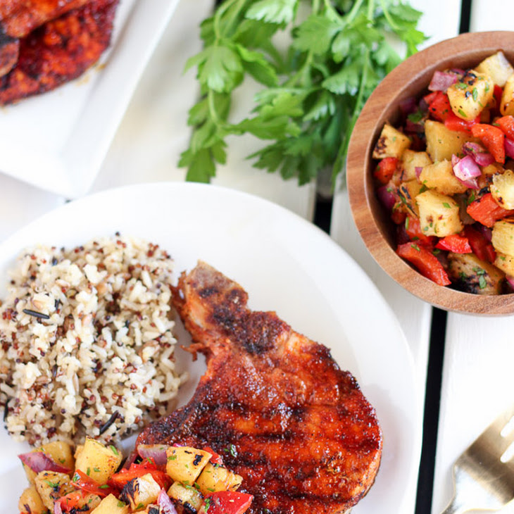 Sweet and Smoky Grilled Pork Chops with Pineapple Relish