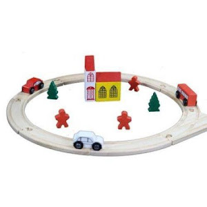 Circuit cu tren din lemn, traseu circular cu sine