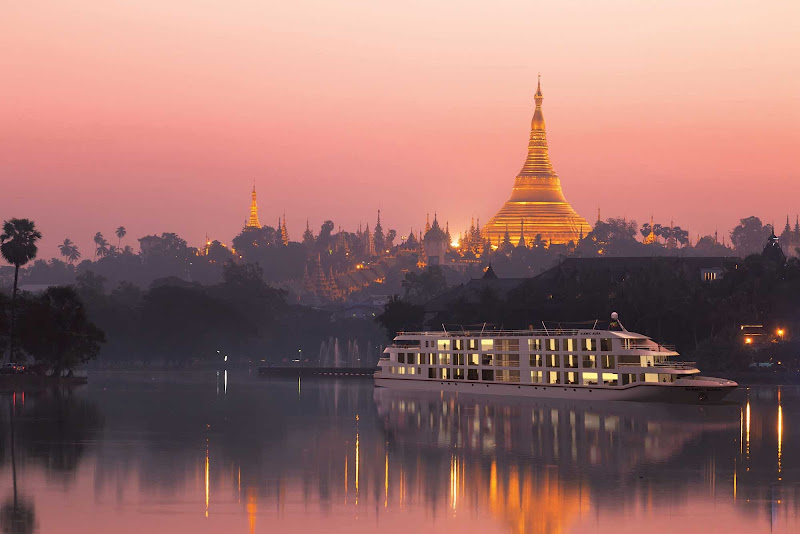 Scenic Aura sails the Irrawaddy River in Myanmar past centuries-old temples and pagodas.