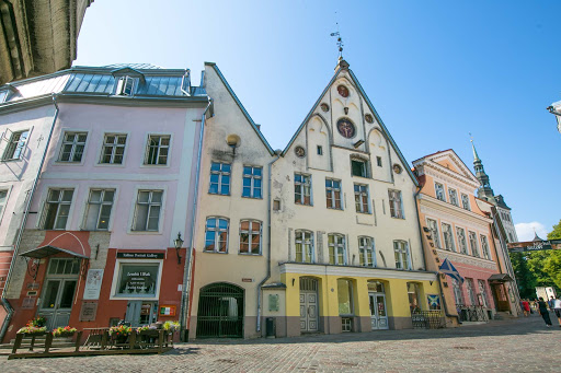 A row of classic buildings in downtown Tallinn, Estonia.