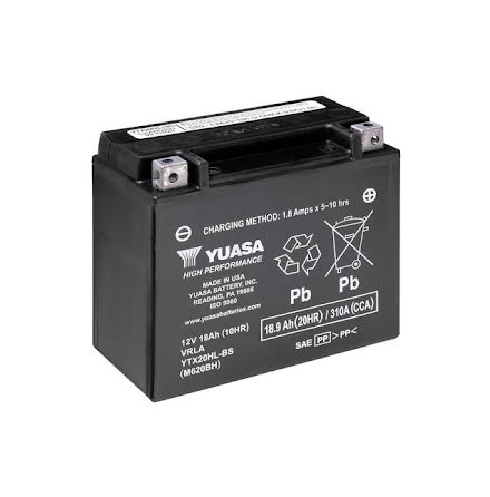 YUASA MC batteri YTX20HL-BS 175x87x155mm