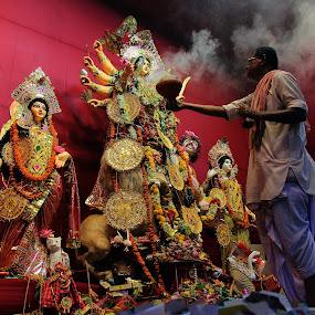 Sondhhi Pujo by Mriganka Sekhar Halder - Artistic Objects Other Objects ( arati, sondhi, astami, pujo, durga )