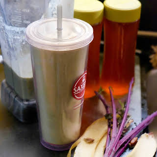 Banana, Peanut Butter, and Date Smoothie with Curly Kale.