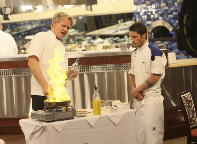 Photo: HELL'S KITCHEN: Chef Gordon Ramsay (L) instructs contestant Brian (R) on table-side service on the second part of the two-night Season 10 premiere of  HELL'S KITCHEN airing Monday, June 4 (8:00-9:00 PM ET/PT) and Tuesday, June 5 (8:00-9:00 PM ET/PT) on FOX. ©2012 Fox Broadcasting Co. Cr: Greg Gayne/FOX