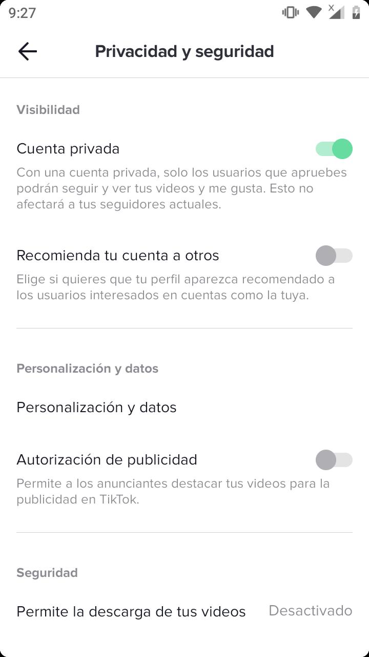 Opciones de privacidad en TikTok