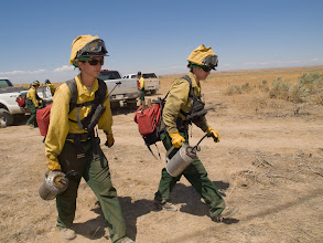 Photo: West Cinder Prescribed Burn, Twin Falls District BLM, Idaho, August 3, 2010, female firefighters, drip torches