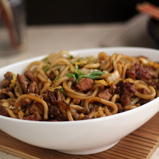 Stir Fried Udon Noodles with Pork and Wild Mushrooms.