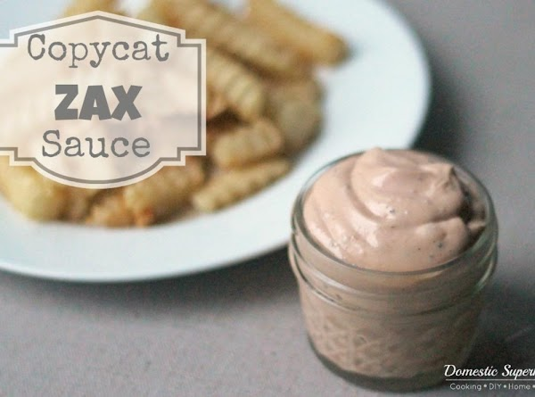 for full list of ingredients and directions please visit: http://domesticsuperhero.com/2013/07/01/copycat-zax-sauce-recipe/