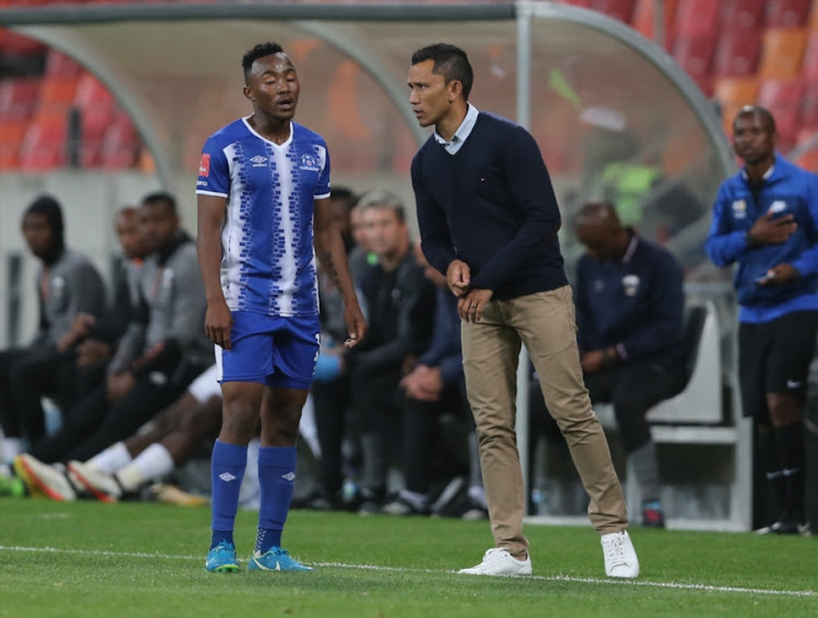 Fadlu Davids, Head Coach, talks to Lebohang Maboe of Maritzburg United during the Absa Premiership match between Chippa United and Maritzburg United at Nelson Mandela Bay Stadium on October 18, 2017 in Port Elizabeth, South Africa.