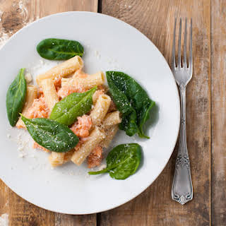 Rigatoni with Lemon, Salmon and Baby Spinach.