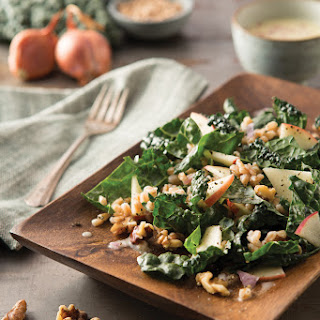 Farro and Dinosaur Kale Salad with Coconut Milk Shallot Dressing.