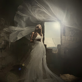 wind&light by Victor Vertsner - Wedding Bride ( wind, window, dress, loight, bride )