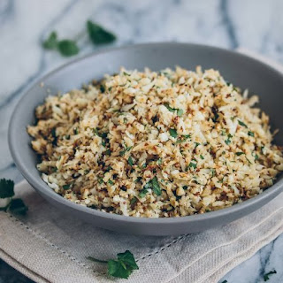 Roasted Cauliflower Rice with Cilantro & Lime.