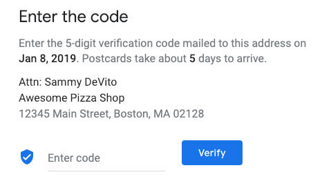 google my business for restaurants verification code