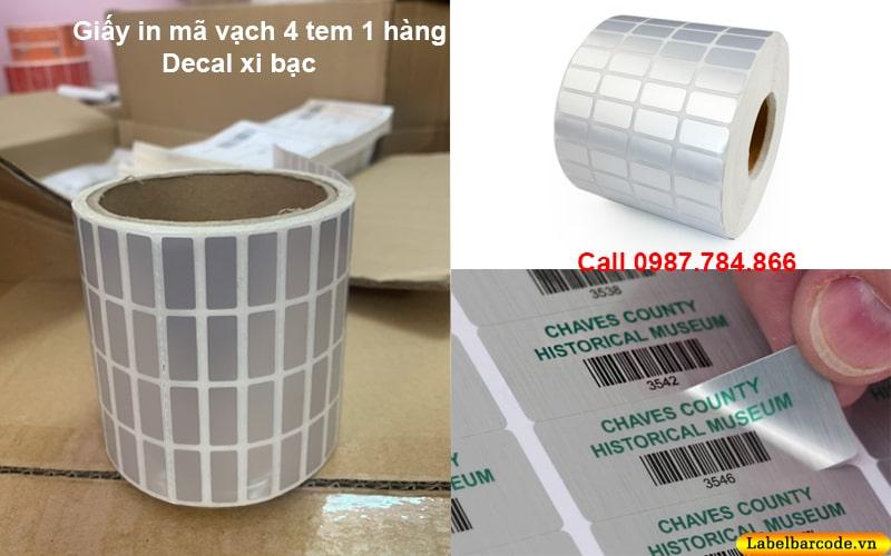 Giấy in mã vạch 4 tem làm từ chất liệu decal xi bạc