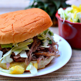 Kalua Pork Barbecue Burger with Pineapple Coleslaw #KHGameTime.