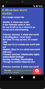 A Whole New World Lyrics Screenshot Thumbnail