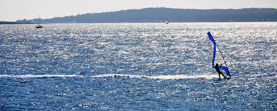 Photo: Windsurfer heading to shore next to Pipers Lagoon, Nanaimo BC