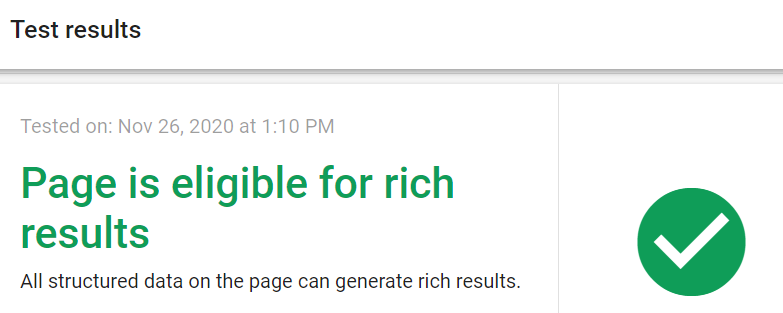 Page is eligible for rich results - Message from Rich Results Test Website