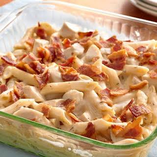 Chicken-Bacon Alfredo Penne Casserole.