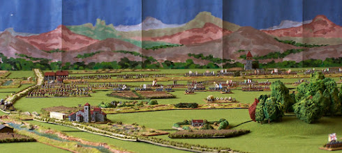 Photo: Una vista panoramica del campo di battaglia da Aschaffenburg (retrovie alleate). Miniature Baccus, materiale scenico TimeCast, McGijo e autocostruito