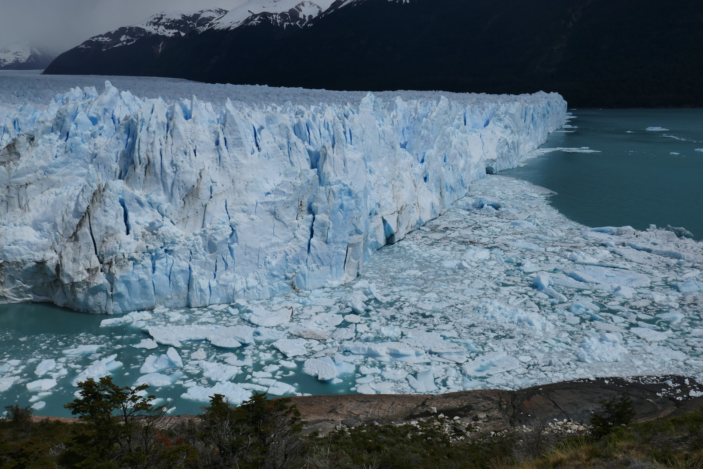 The part of the glacier that faces into Lago Argentino