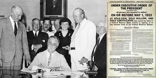 Roosevelt signant le début de la grande confiscation de 1933