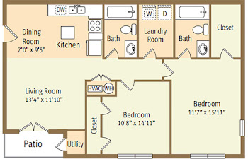 Go to Two Bed, Two Bath Garden C Floorplan page.