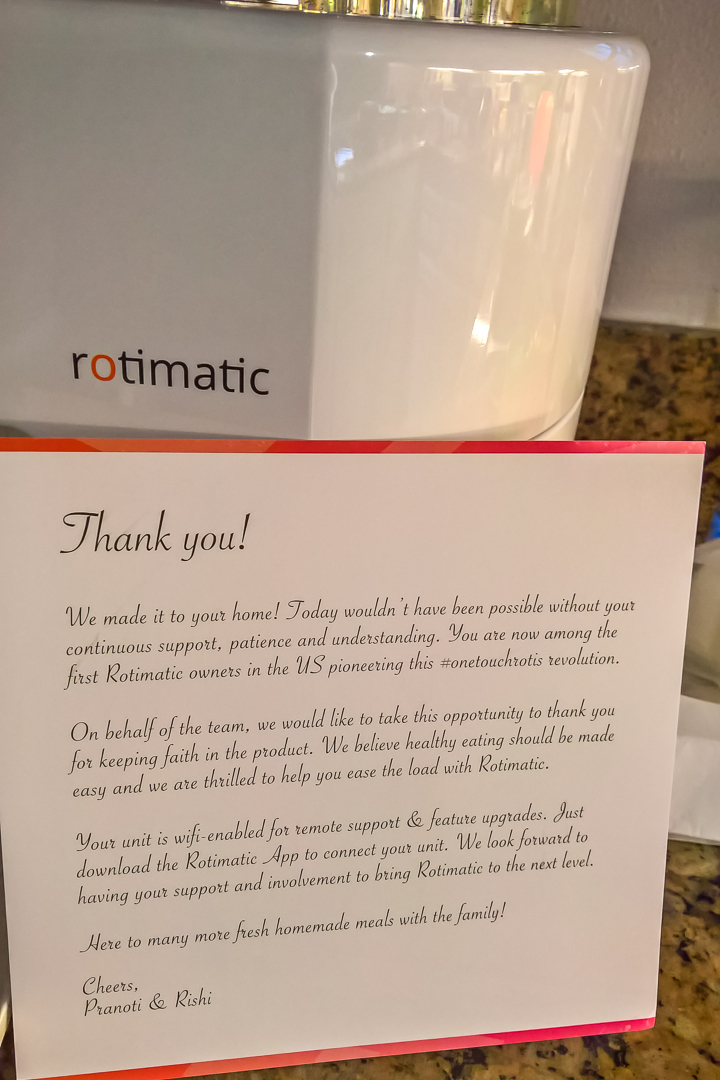 Thank you letter by Zimplistic team for being one of teh pre-order customers for Rotimatic