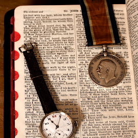JOHN, CHAPTER 11, VERSE35 by Russell Mander - Abstract Macro ( bible, watch, ww 1, medal, still life )