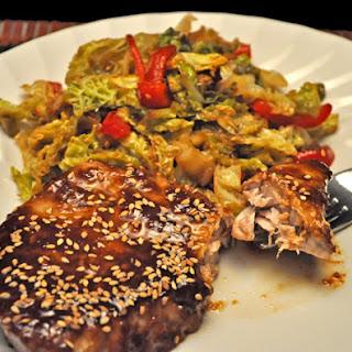 Miso Tuna with Stir-Fried Vegetables.