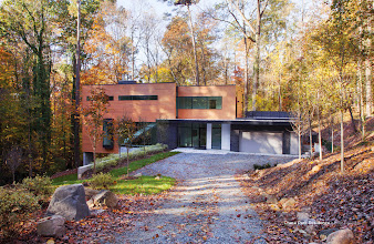Photo: The 2014 Bhowmick Residence, aka the Ravine House, Chapel Hill NC, designed by Philip Szostak FAIA of Szostak Design, Chapel Hill.  Built by Szostak Build, Inc.  Structural Engineer:  Structural Visions.
