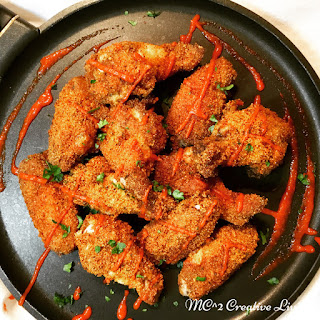Oven Baked Breaded Chicken Wings.