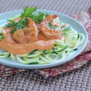 Whole30 Romesco Shrimp Zucchini Noodles