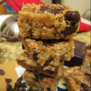 Peanut Butter And Flax Oat Squares With Chocolate Chips