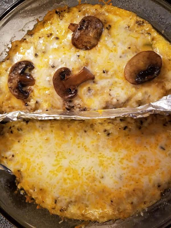 Divided Casserole. My Hubby Isn't A Mushroom Fan So I Leave Them Out Of Half.