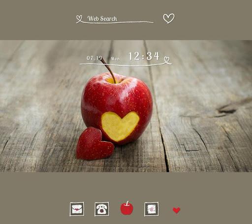 かわいい壁紙アイコン ハートのリンゴ 無料