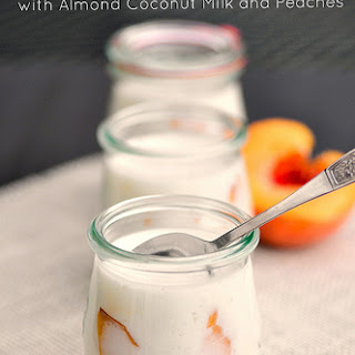 Greek Yogurt Panna Cotta with Almond Coconut Milk and Fresh Peaches that's Gluten Free!