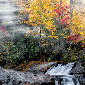Sun & Smoke by Nancy Arehart - Landscapes Waterscapes ( water, fall colors, autumn, waterfall, hunt fish falls )