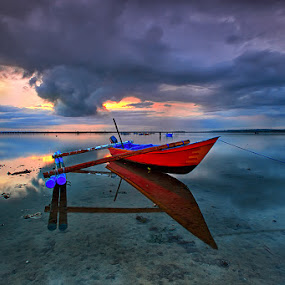 Red In Blue by Agoes Antara - Transportation Boats