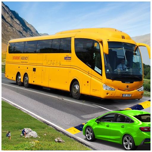 Modern Coach Bus Offroad Drive