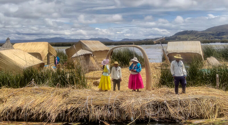 The floating Uros islands on the lake titicaca near Puno peru.