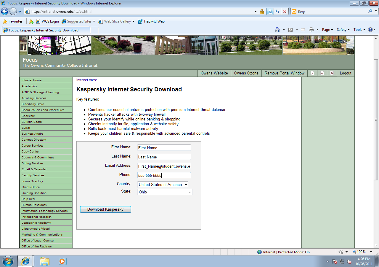Screen shot: Form to fill in your information; Name, e-mail address, phone number, country, state