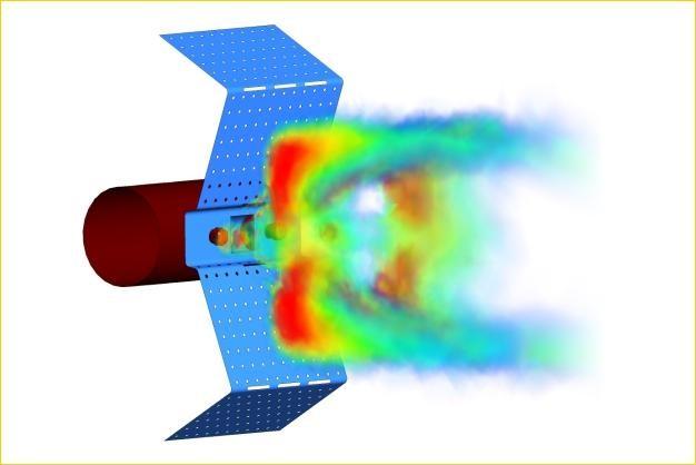 ANSYS - Распределение температуры вокруг диффузора горелки