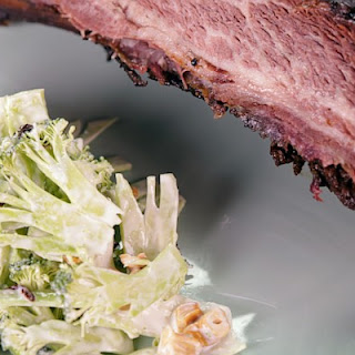 Beef Ribs with Shaved Broccoli Salad