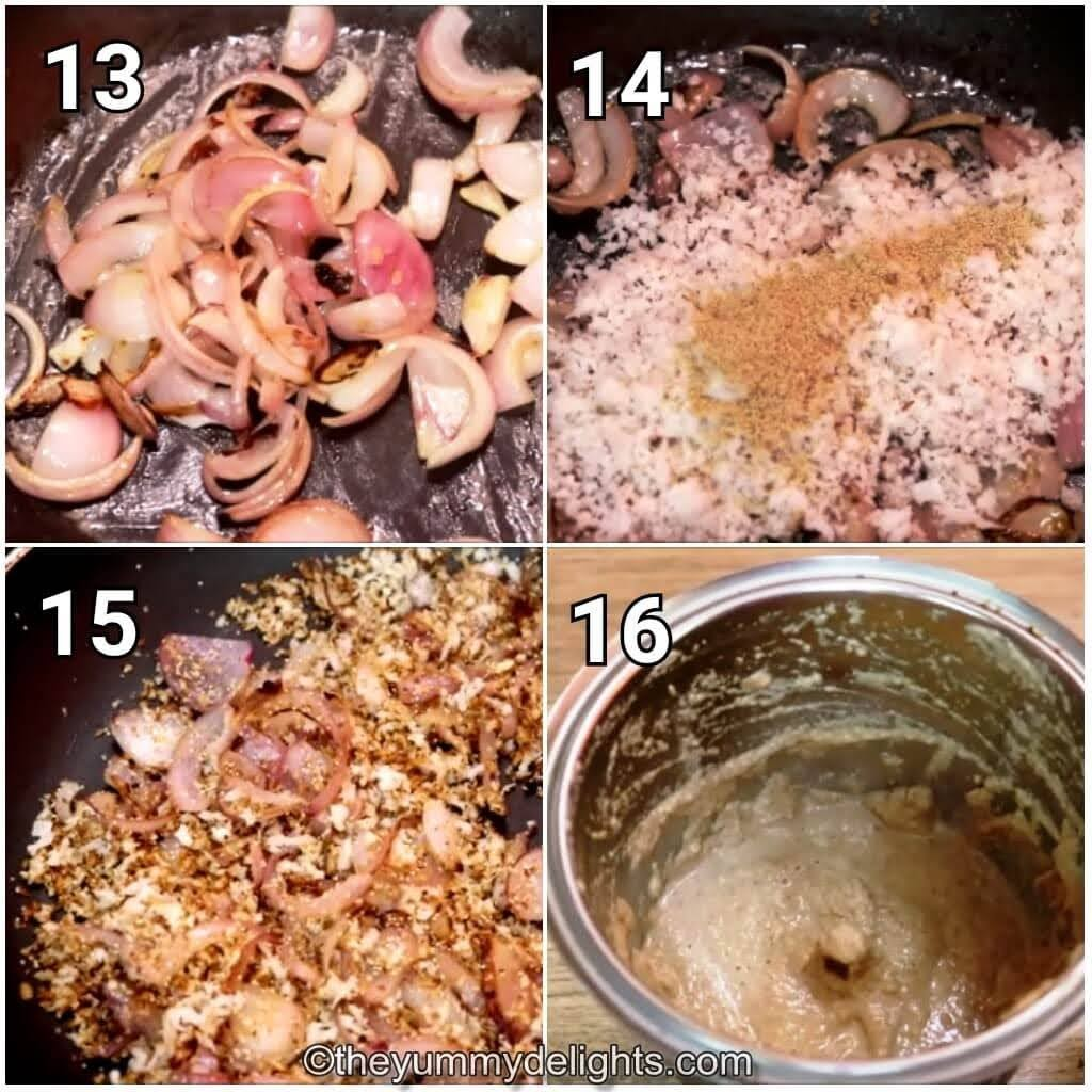 step by step image collage of making the onion coconut paste